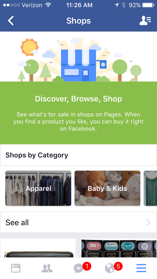 6244efa2f461ee Facebook Shopping and Services Section